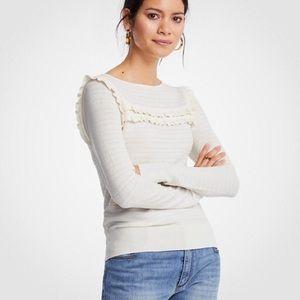 NWT ANN TAYLOR Cream Ruffle Sweater Top Size S